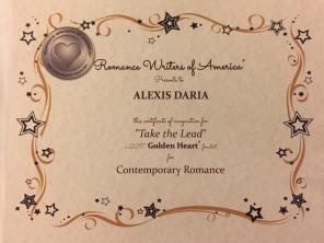 RWA Take the Lead Golden Heart certificate