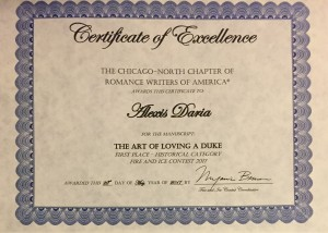 The Art of Loving a Duke historical romance fire and ice contest first place certificate