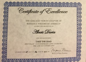 Take the Lead fire and ice contest first place certificate